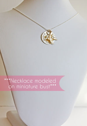Personalized Silver Mother Necklace with Names Pearls and Gold Bird Charm
