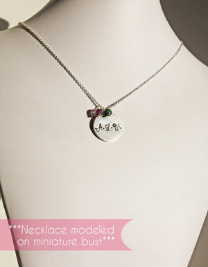 Personalized Silver Initial Disc Necklace with Birthstones