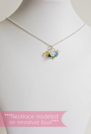 Silver Mother's Necklace with Tiny Birthstones
