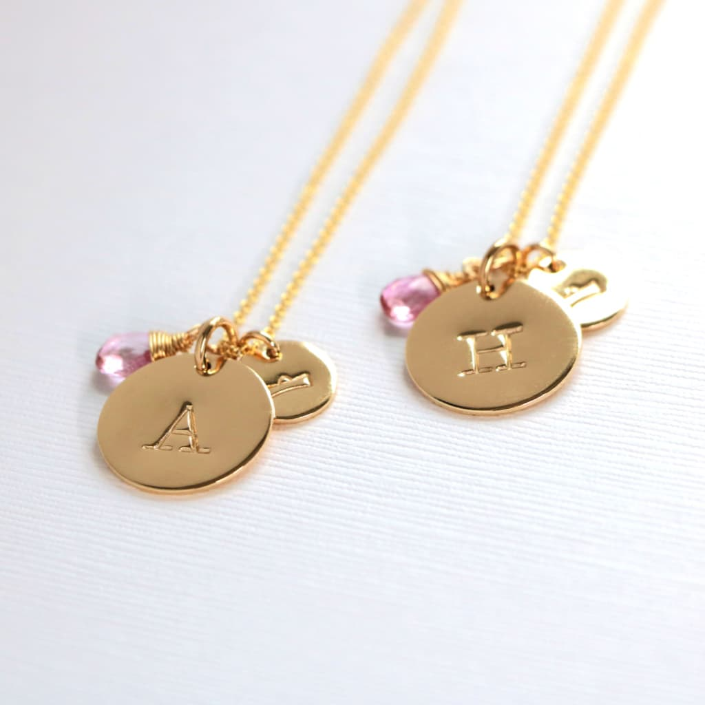 Tween Teen Zodiac Astrology Symbol Initial Birthstone Necklace