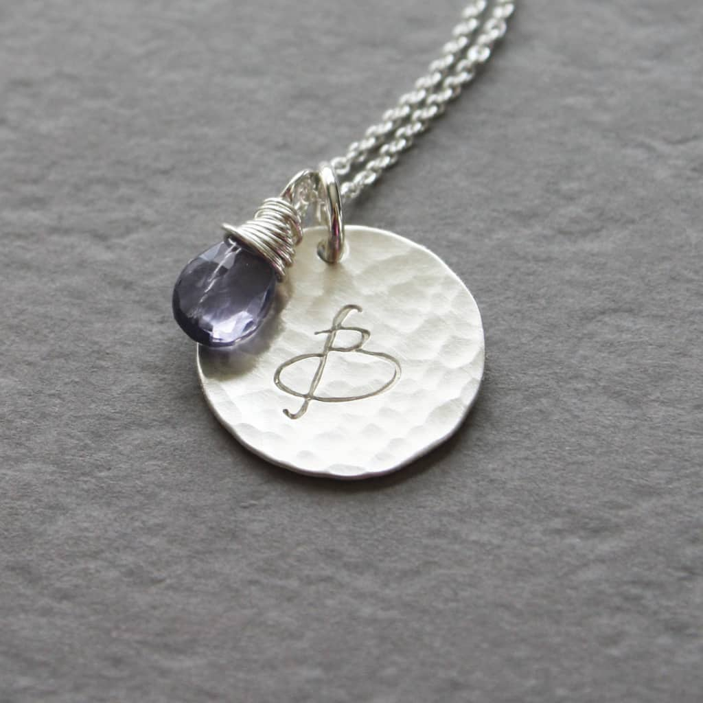 Modern Silver Initial and Birthstone Necklace