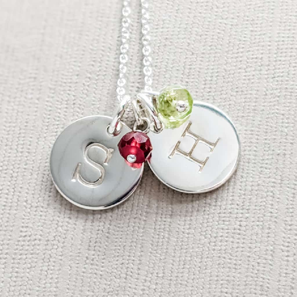 Kids Birthstone and Initial Necklace for Mom or Grandma