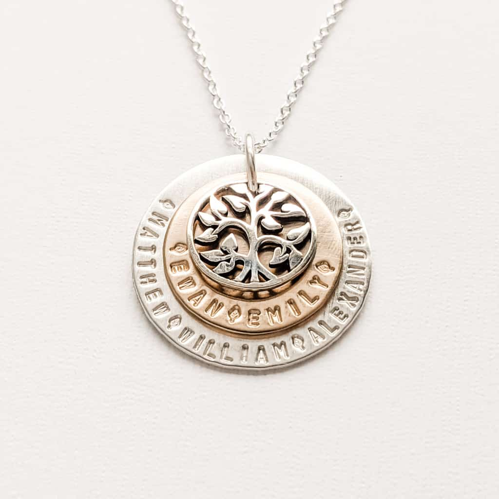 Layered Tree of Life Family Necklace with Grandkids Names