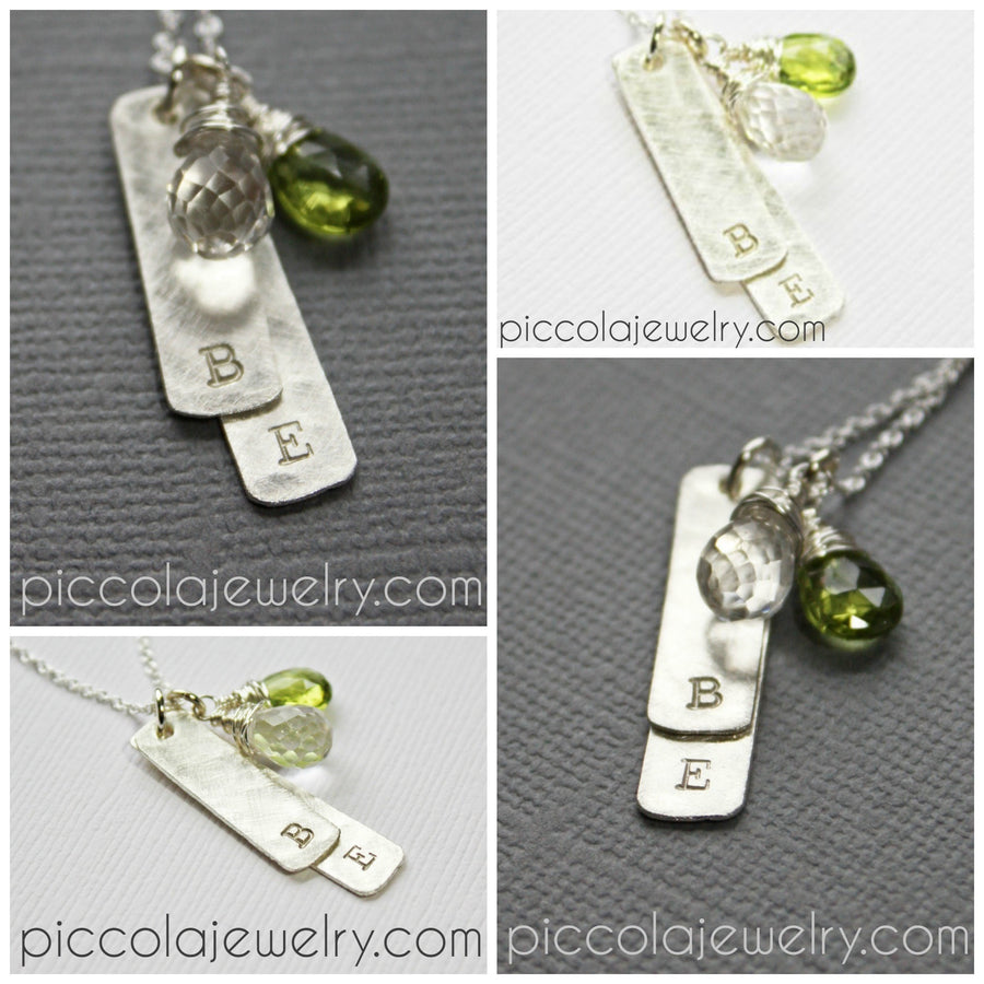 Layered Silver Vertical Bar Necklace with Initials and Birthstones