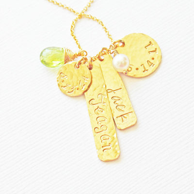 Mismatch Charms Family Necklace with Names and Birthstones