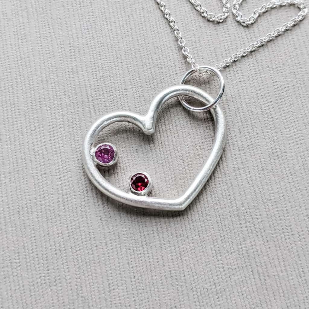 Modern Classy Silver Personalized Mom Gift with Birthstones