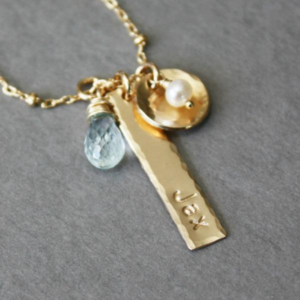 Gold Unique Mothers Necklace with Baby Name