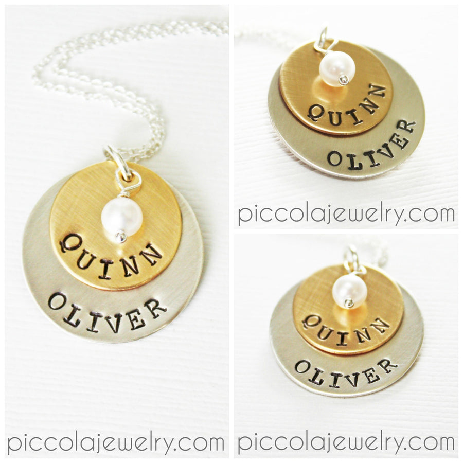 2 Disc Gold and Silver Name Necklace