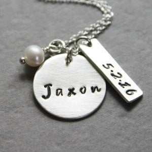 Personalized Silver Baby Name Necklace With Birthdate
