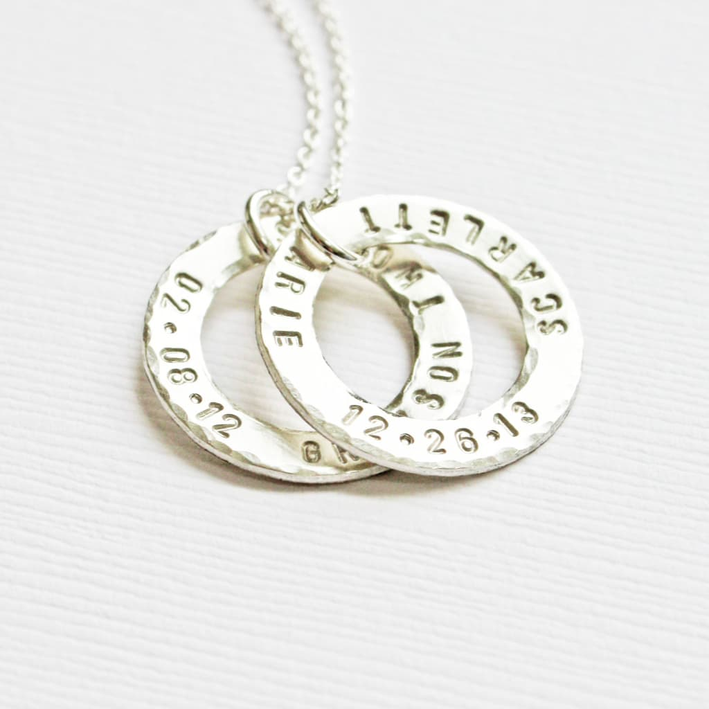 Sterling Silver Mother's Ring Pendant Necklace with Kids Name and Date of Birth