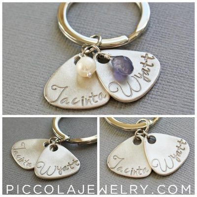 Mothers Key Chain with Kids Names and Birthstones