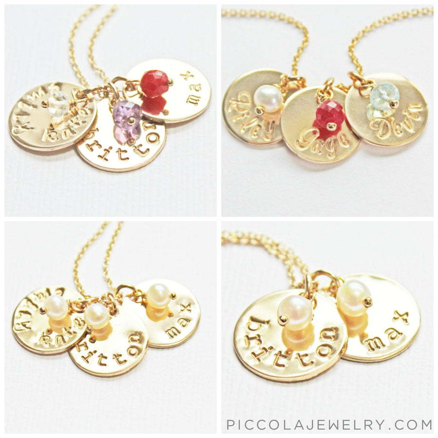 Gold Name Charms with Names and Birthstones