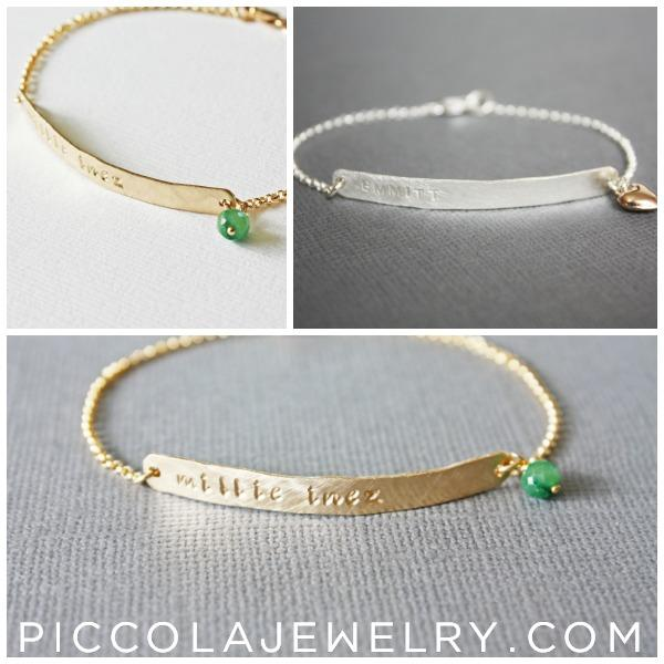 Gold name bracelet with Birthstone