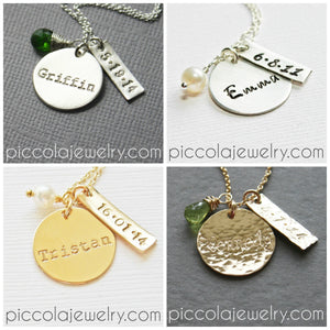 Personalized Silver Baby Name Necklace with Birth Date and Pearl