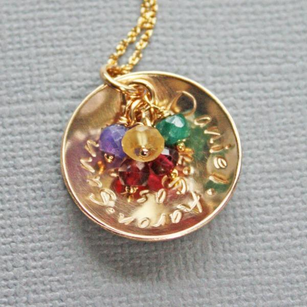 Nana Pendant with grandkids names and birthstones
