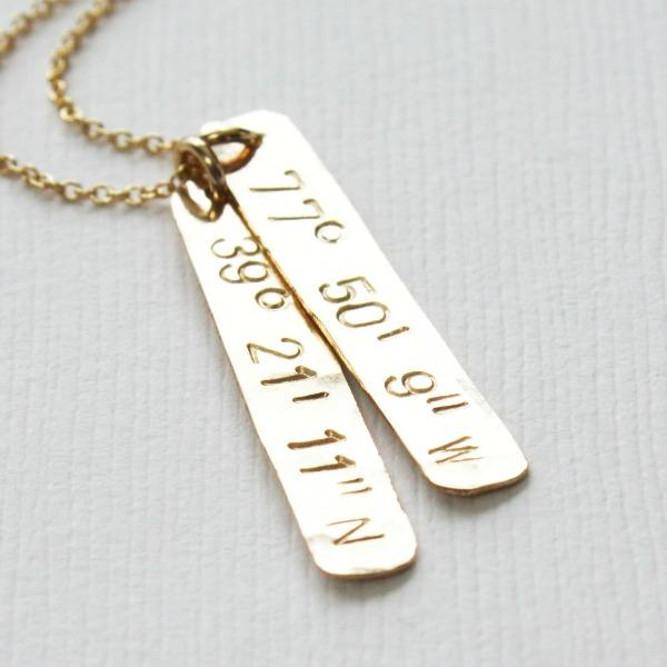 Necklace with Latitude Longitude
