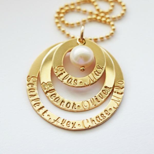 Gold Family Name Necklace