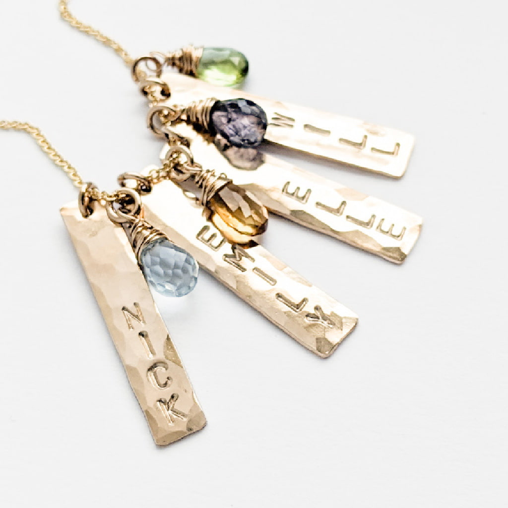 Gold Vertical Bar Necklace with Children's Names and Birthstones