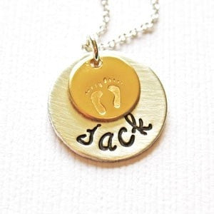 Mommy Name Necklace with Baby Feet