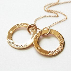 Personalized Mom Ring Necklace with Kids Names