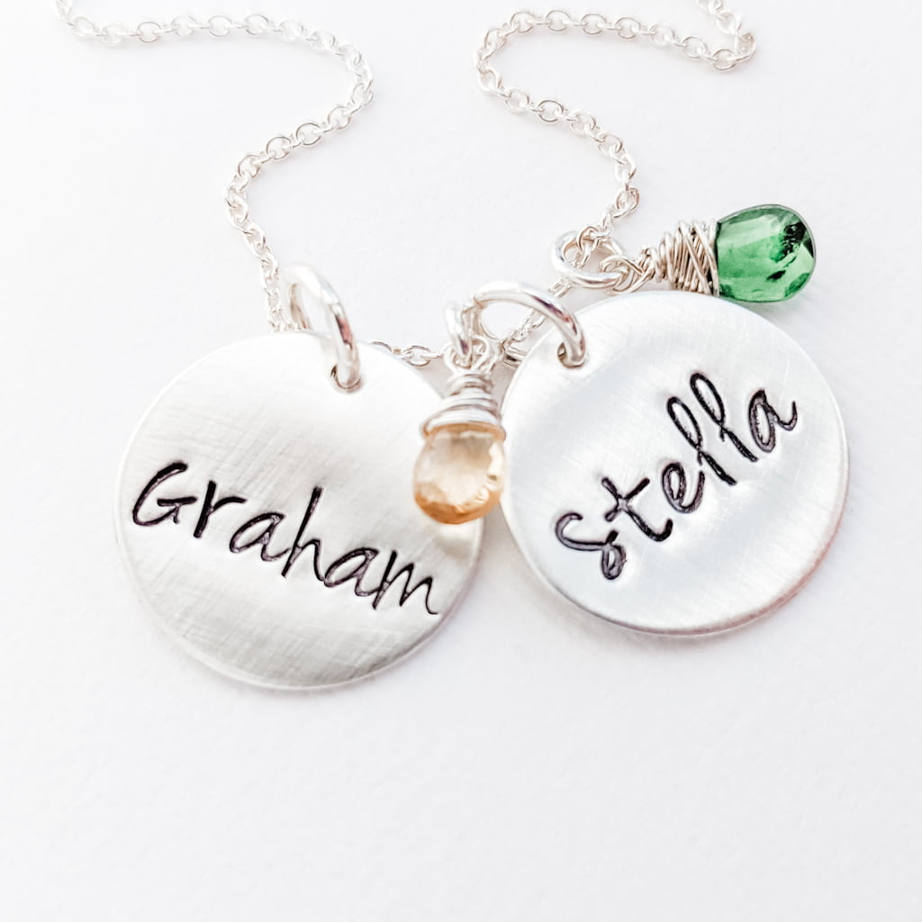 Personalized name and birthstone necklace for Mom of 1 2 3 4 kids
