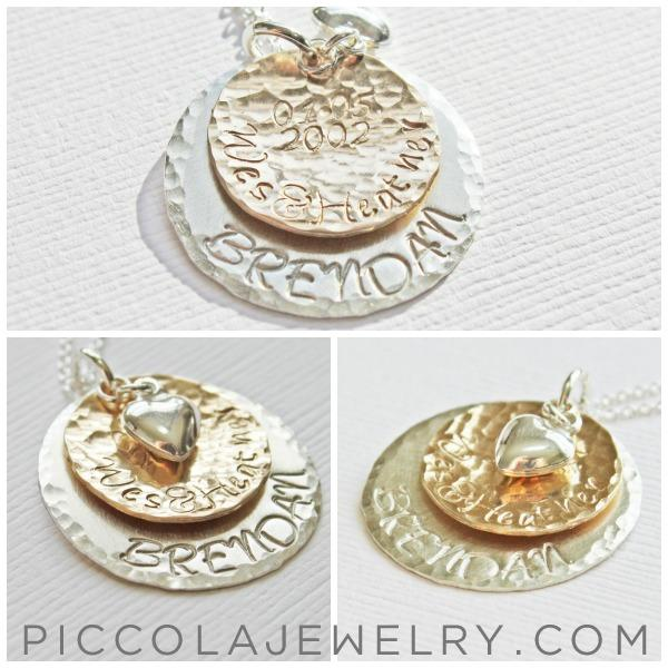 Layered Silver and Gold Disc Family Necklace
