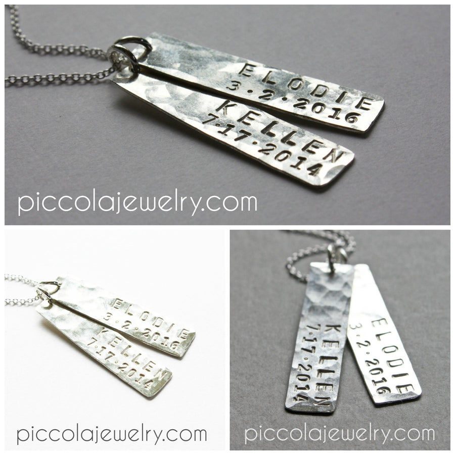 Silver Vertical Bar with Name Necklace