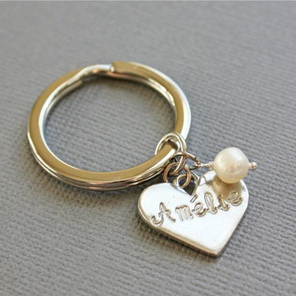 Key ring with Heart Tag Name and Pearl
