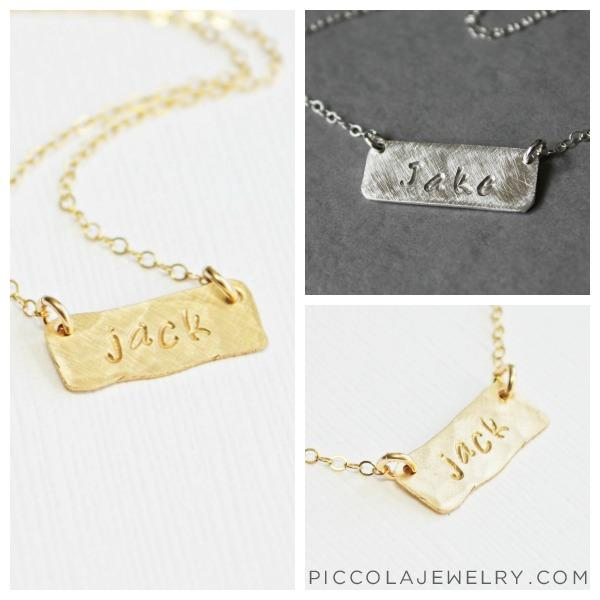 Tiny gold horizontal name plate necklace