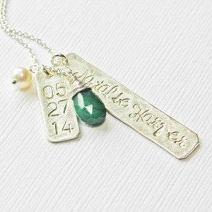 Silver Modern Mother's Necklace with Baby Names and Birthstone