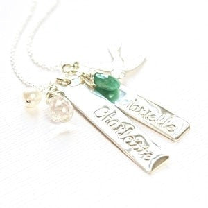Custom Mommy Name Necklace with Vertical Bar
