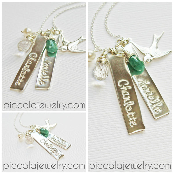 Personalized Silver Vertical Bar With Kids Names