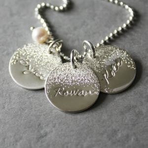 Silver Personalized Name Necklace with Pearl