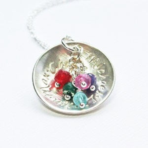 SIlver Family pendant with 1 2 3 4 5 children's names