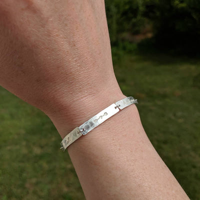 Silver Hammered Bracelet with Names