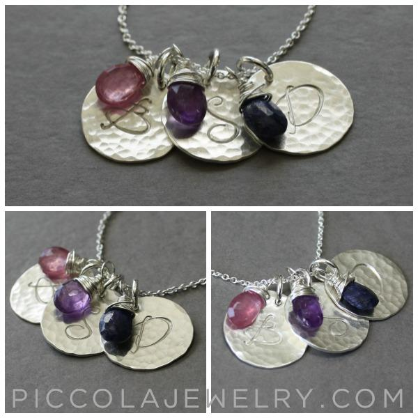Modern Initial Necklace with Birthstones