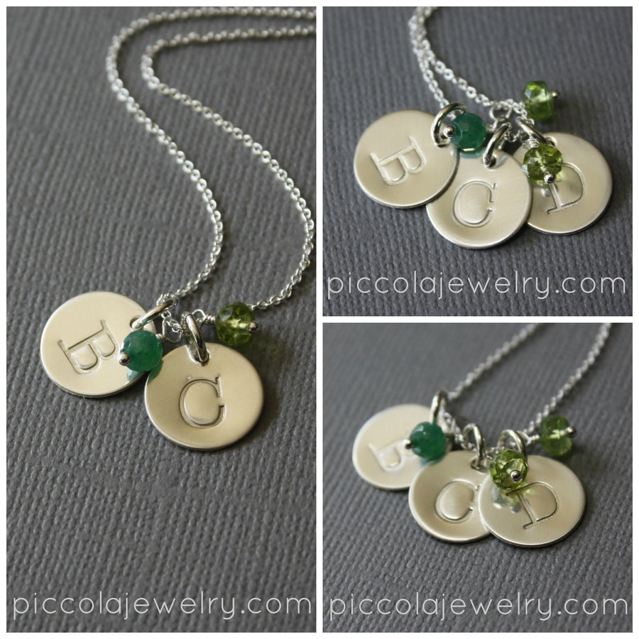 Silver Initial and Birthstone Pendant Necklace