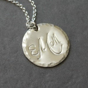 Silver Monogrammed Disc Circle Pendant