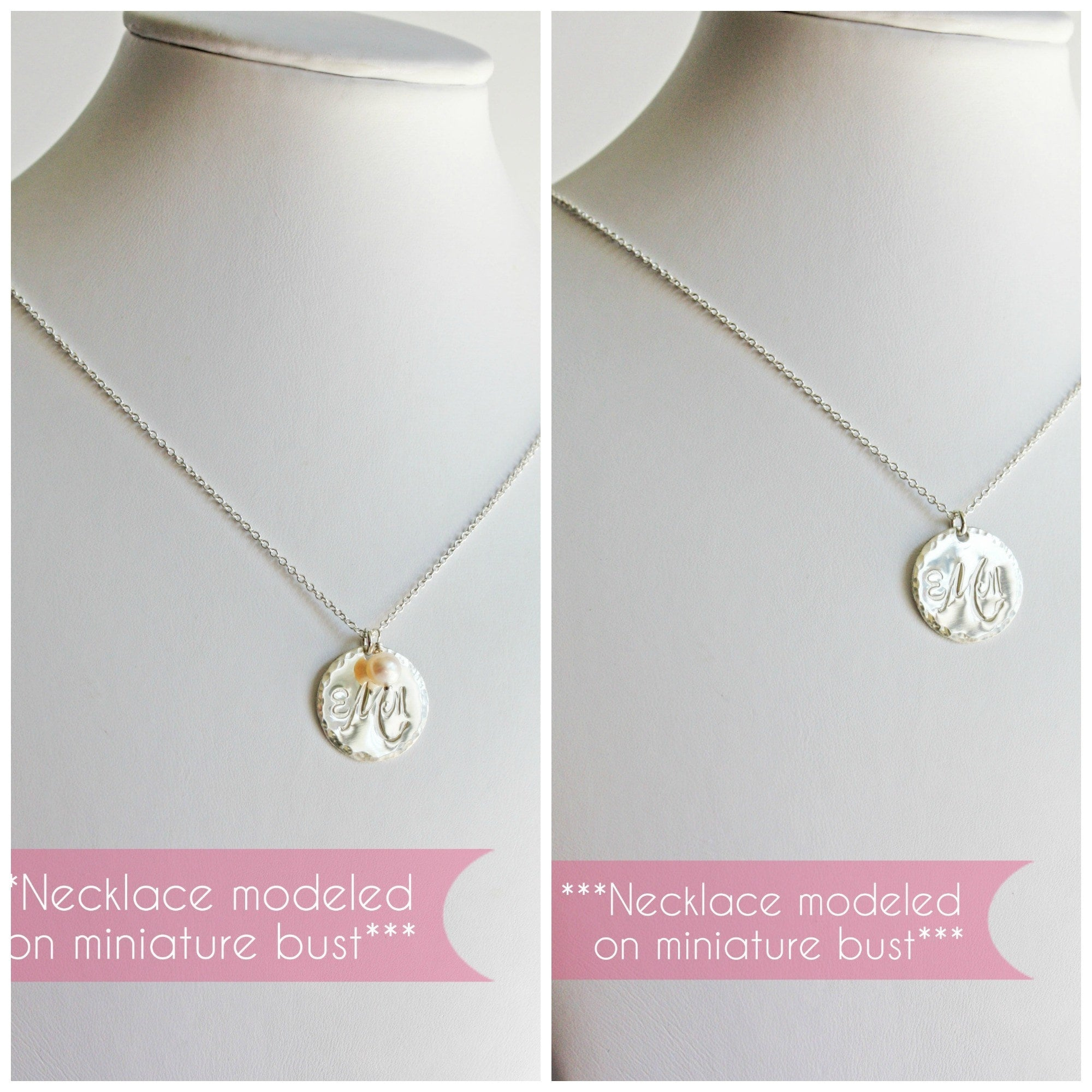 Monogram necklace canada sterling silver disc pendant with silver monogram disc pendant with initials and hammered edge mozeypictures Choice Image