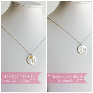 Silver Monogram Disc Pendant with Initials and Hammered Edge