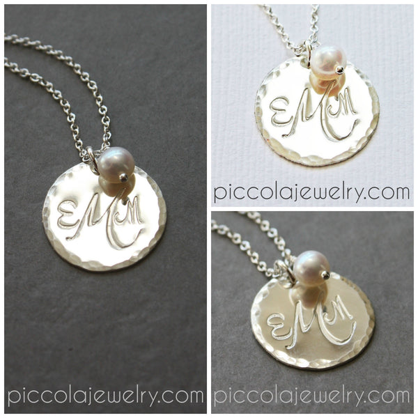 monogram necklace canada - sterling silver disc pendant with initials