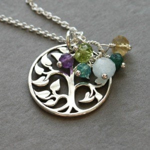 Tree of Life Necklace with 1 2 3 4 5 6 7 8 9 10 11 Birthstones