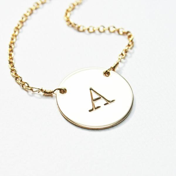 Simple Gold Initial Disc Necklace