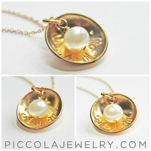 Gold and Pearl Domed necklace 1 2 3 Kids