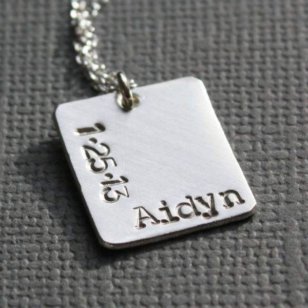 Square Baby Name and Date Pendant