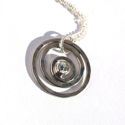 Pathfinder Offset Sterling Silver Ring with Faceted Birthstone Pendant Necklace