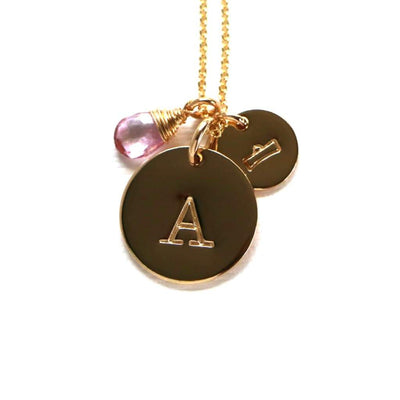 Astrology Symbol with Initial and Birthstone Necklace