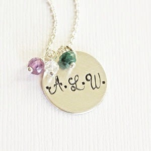 Three Initial and Birthstone Mother's Necklace