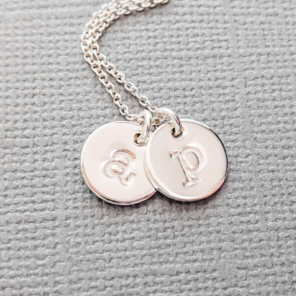 Tiny Silver Kids Initial Necklace for Mom