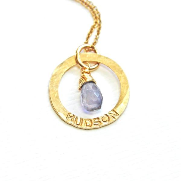 Personalized gold ring necklace with name and birthstone